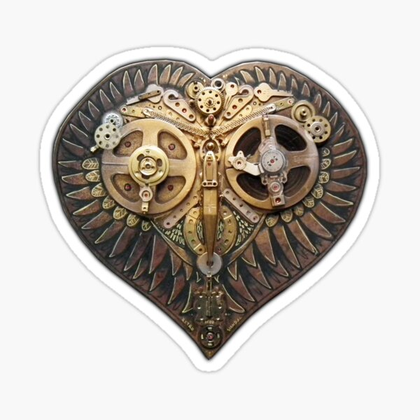 Steampunk Owl Love Heart Golden Sticker