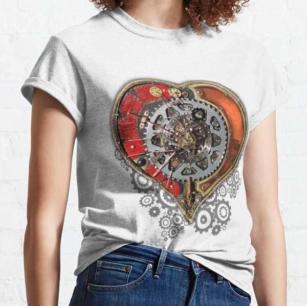 Steampunk Love Heart Upcycled Artwork Classic T-Shirt