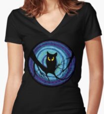 time for child stories: the EVIL OWL Women's Fitted V-Neck T-Shirt