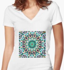 Square turquoise Mosaic Women's Fitted V-Neck T-Shirt