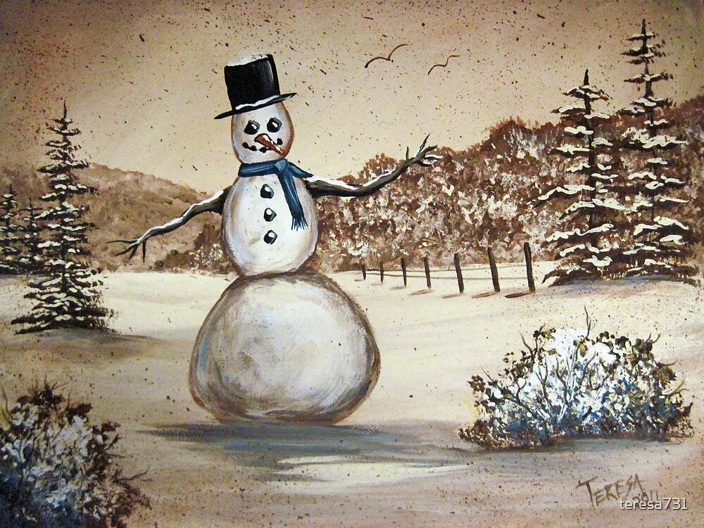 Snowman in Acrylic by teresa731