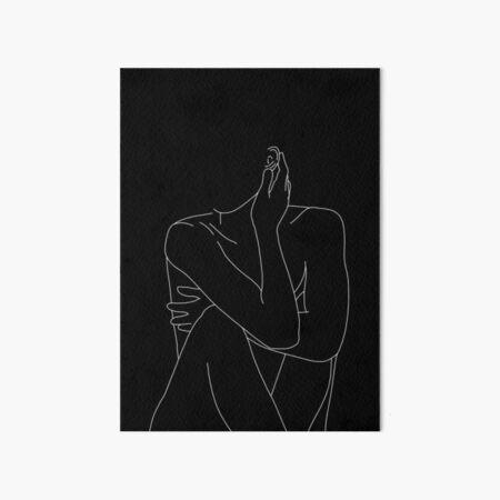 Nude figure illustration - Celina Black Art Board Print