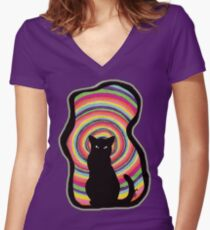 time for child stories: the BLACK CAT Women's Fitted V-Neck T-Shirt