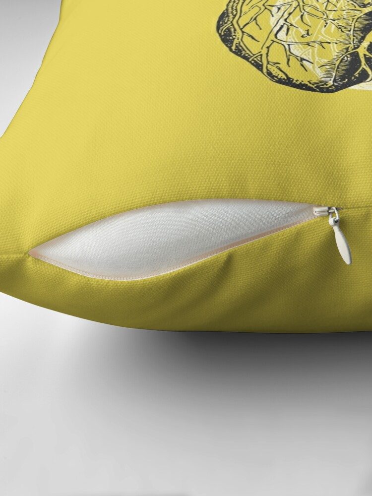Alternate view of Anatomical Heart • Yellow • Pastel Goth Throw Pillow