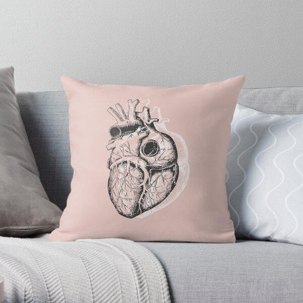 Anatomical Heart • Pastel Pink • Minimalist Goth Throw Pillow