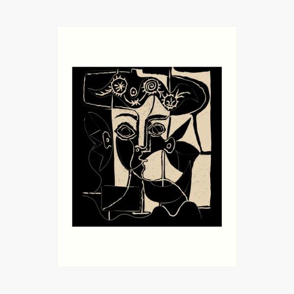 Picasso Frauenkopf # 8 schwarze Linie Kunstdruck