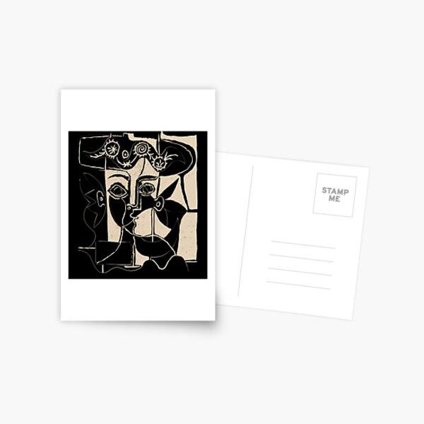 Tête de femme Picasso # 8 ligne noire Carte postale