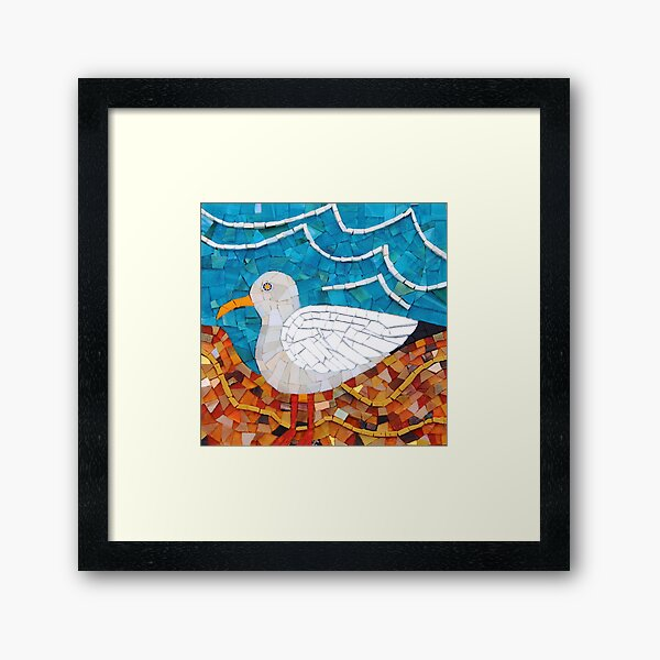 Seagull mosaic by Sue Kershaw Framed Art Print