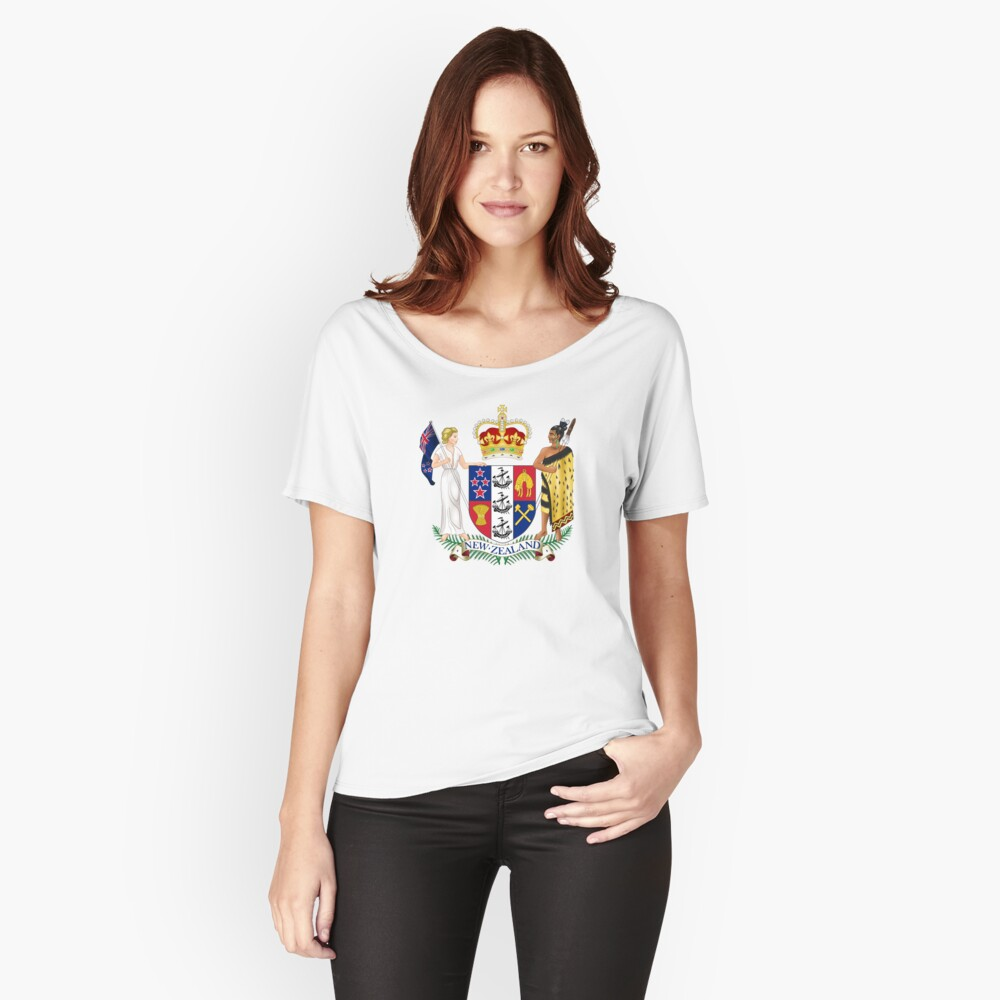 Coat of Arms of New Zealand  Women's Relaxed Fit T-Shirt Front