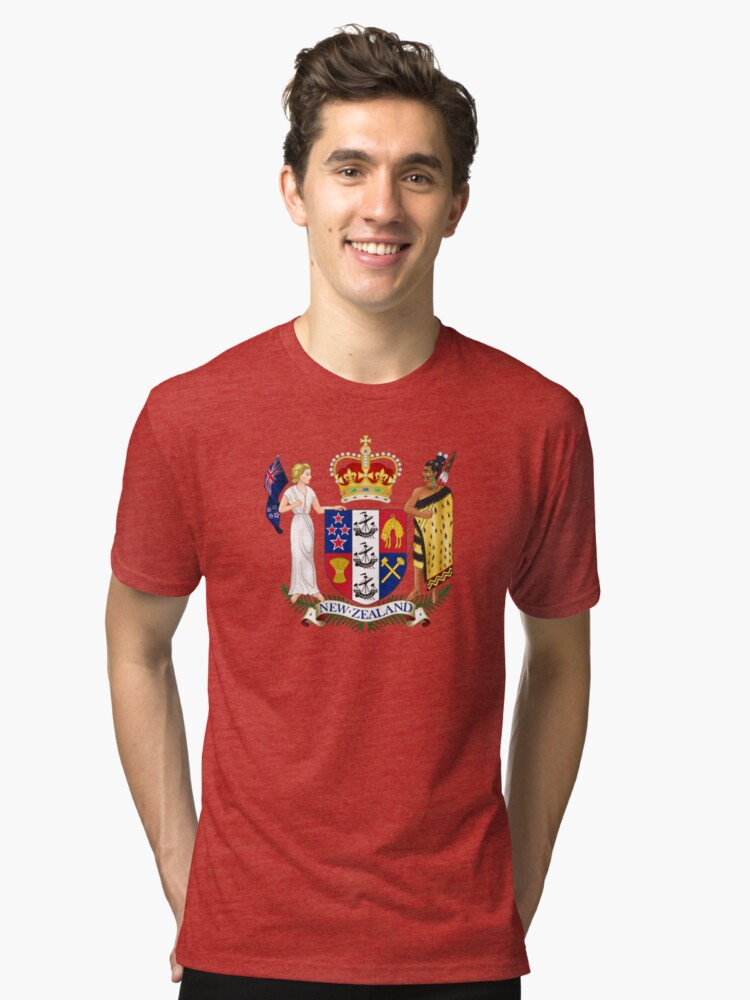 Coat of Arms of New Zealand  Tri-blend T-Shirt Front