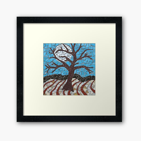 Moonlit Tree Mosaic by Sue Kershaw Framed Art Print