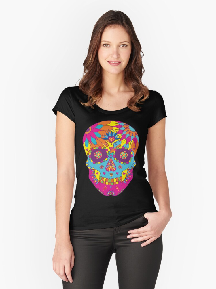Coloured Sugar Skull Women's Fitted Scoop T-Shirt Front