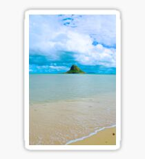 Chinaman's Hat island, east shore , Oahu, Hawaii, USA Sticker