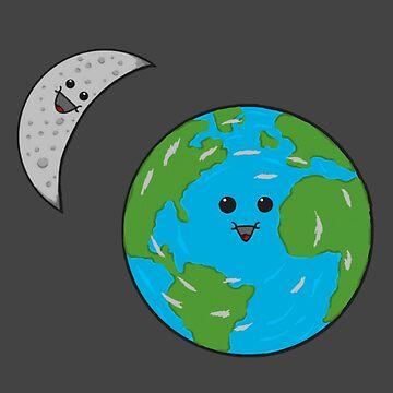 Kawaii (cute) Earth and Moon T-Shirt  by MrDin0saur