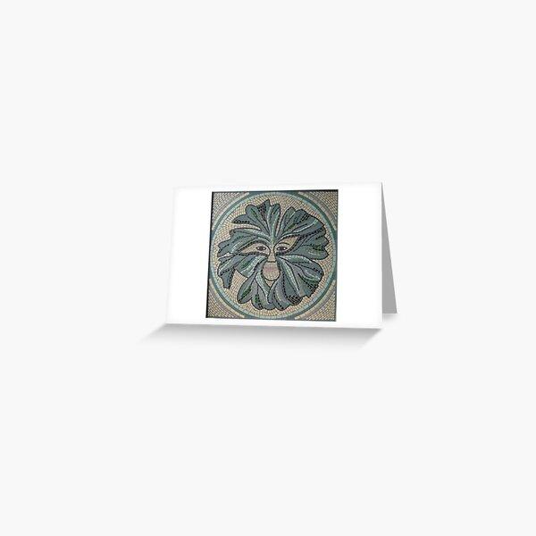 Green Man Mosaic by Sue Kershaw Greeting Card