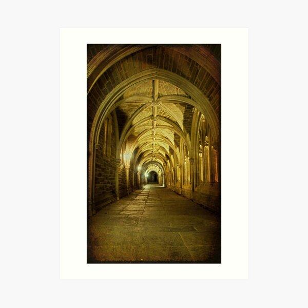 Traveling through Collegiate Gothic Arches Art Print