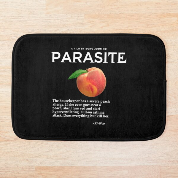 Parasite Peaches Quote - Death Black Bath Mat