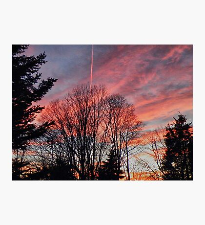 Chemtrail In Sunset Photographic Print
