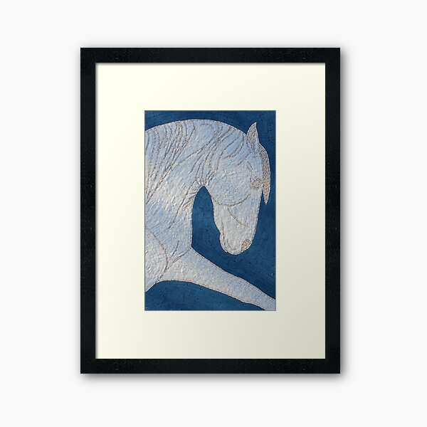 White Horse Mosaic by Sue Kershaw Framed Art Print