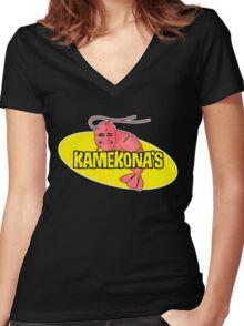 Kamekona's Shrimp Women's Fitted V-Neck T-Shirt