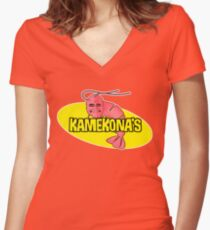 Kamekona's Shrimp Women's Fitted V-Neck T-Shirt