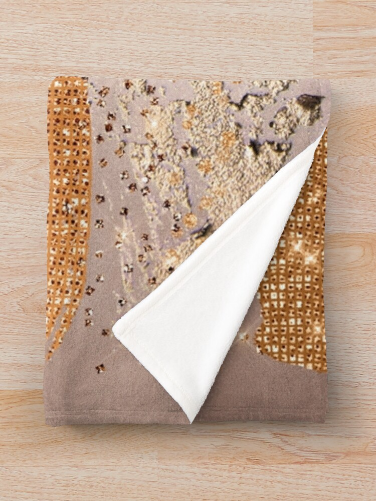 Alternate view of Glitter and Metal Foil Strokes on Copper Blush Metal Throw Blanket
