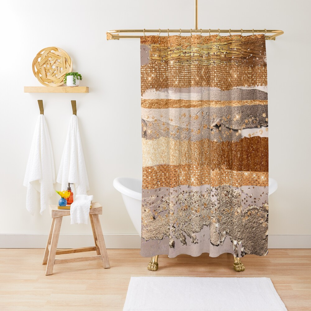 Glitter and Metal Foil Strokes on Copper Blush Metal Shower Curtain