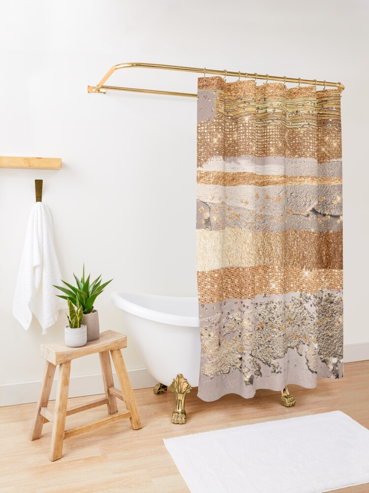 Alternate view of Glitter and Metal Foil Strokes on Copper Blush Metal Shower Curtain