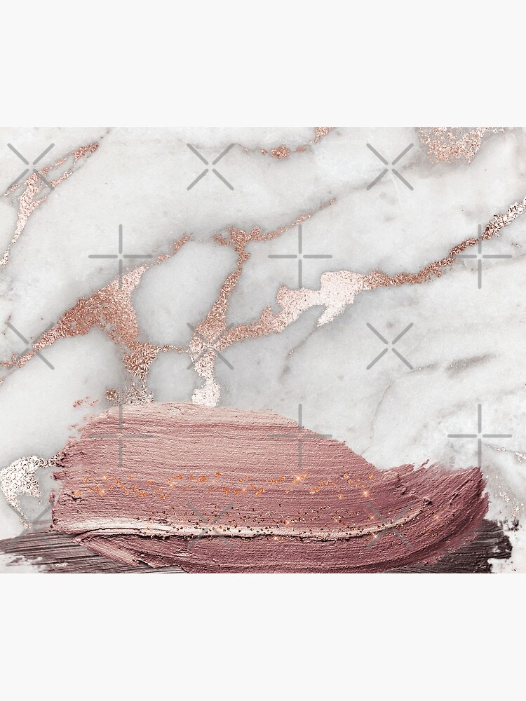 Thick Hand drawn glittery Metal Strokes on Gray Marble with rosegold veins by MysticMarble