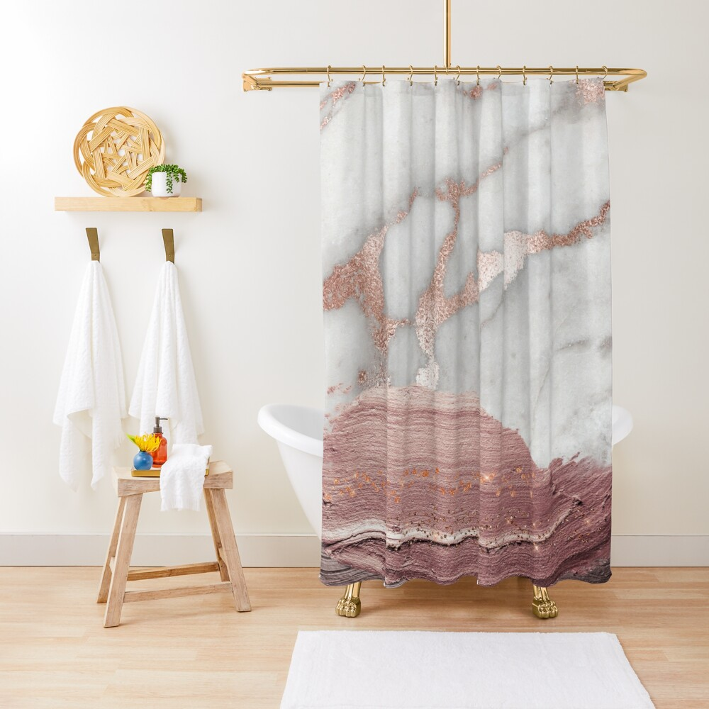 Thick Hand drawn glittery Metal Strokes on Gray Marble with rosegold veins Shower Curtain