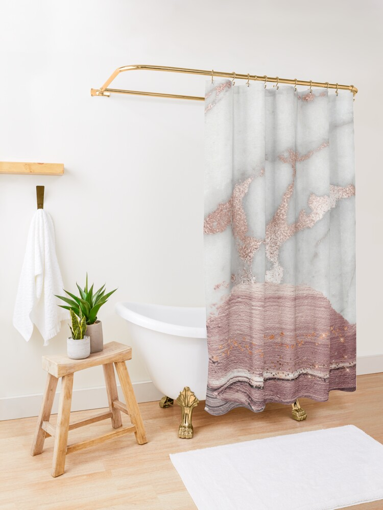 Alternate view of Thick Hand drawn glittery Metal Strokes on Gray Marble with rosegold veins Shower Curtain