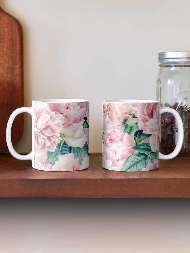 Alternate view of Vintage Blush Real Peonies Pattern Mug