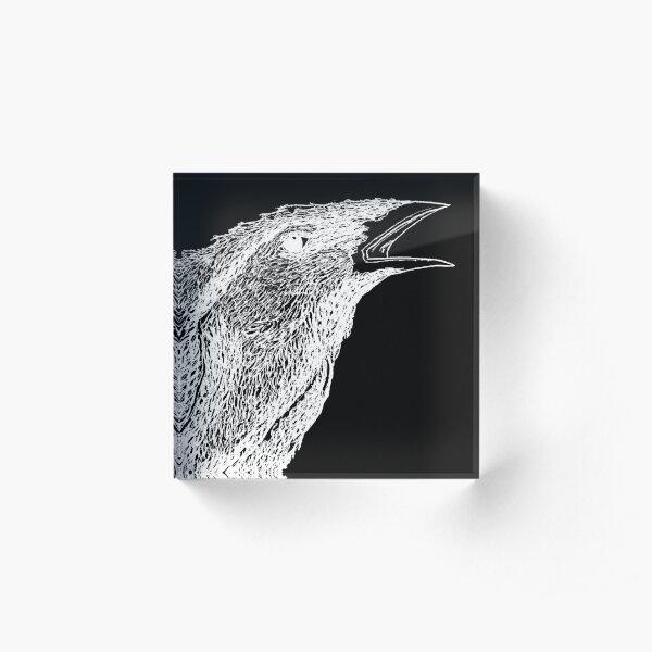 corbeau blanc sur fond noir Bloc acrylique