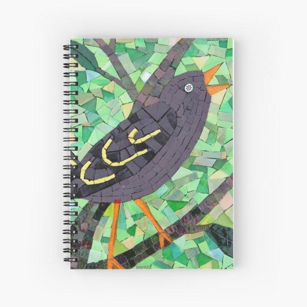 Blackbird mosaic by Sue Kershaw Spiral Notebook