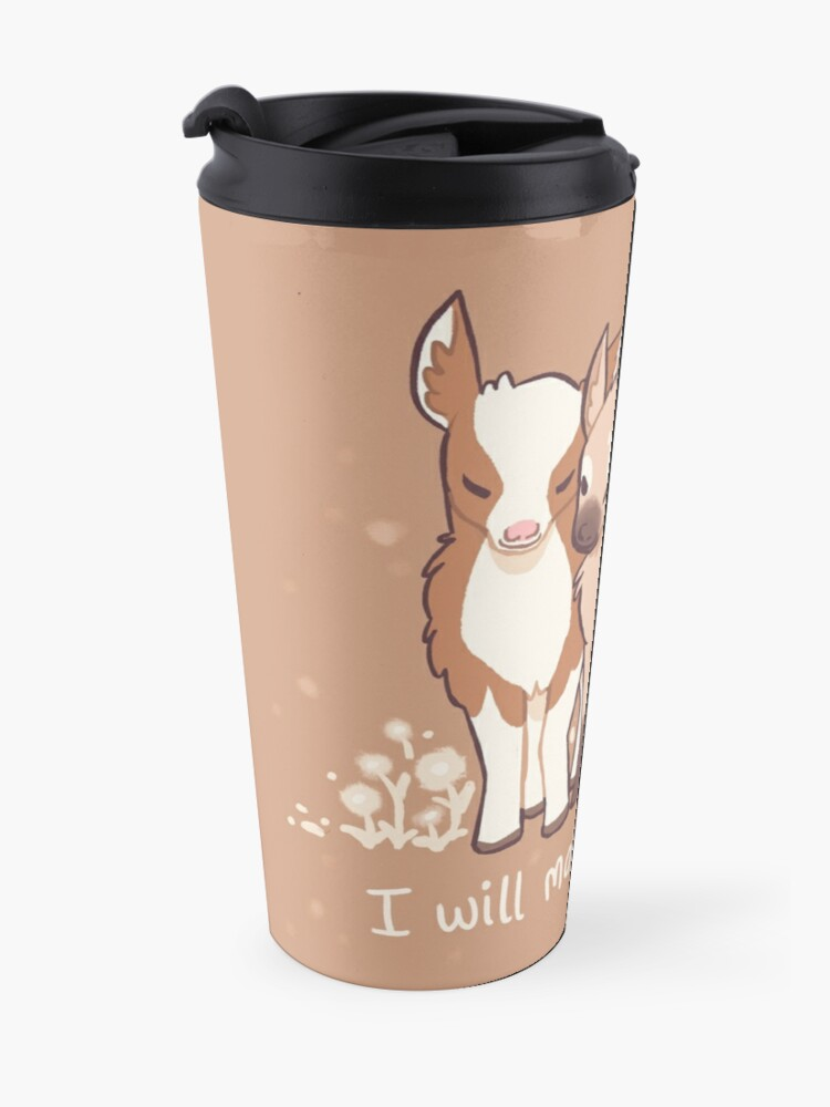 "Alternate view of ""When it's hard to find kindness, I will make it myself"" Baby Goats Travel Mug"