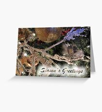 Frosty Branches, Gold Baubles & Xmas Tree Lights Ornaments ~ Season's Greetings Greeting Card ~ Holiday Season Decorations  Greeting Card