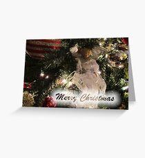 Merry Christmas Greeting Card, Silver Xmas Ball w/ Tree Lights ~ Christmas Angel Ornaments ~ Religious Holiday Season Greeting Card