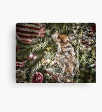 Vignette - Silver, Gold & Burgundy Christmas Balls & Angel w/ Holiday Lights ~ Xmas Trimmings, Religious Tree Ornament Canvas Print