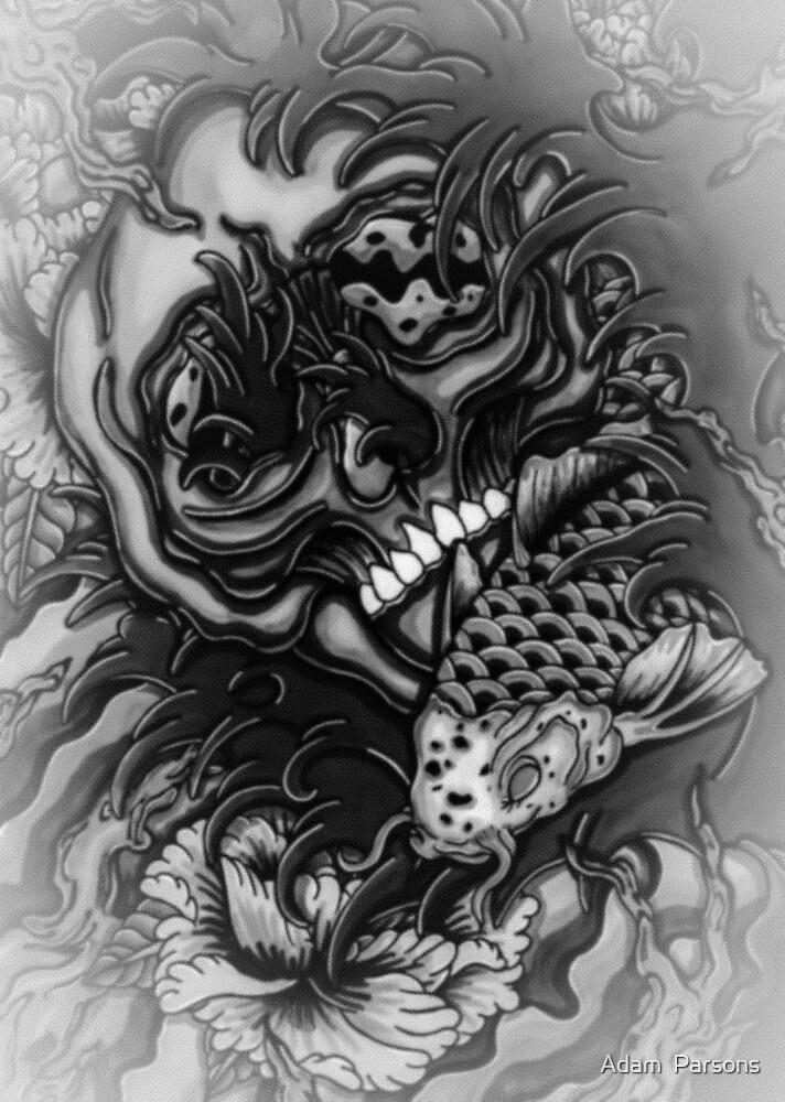 skull and koi fish in wonderland by Adam  Parsons