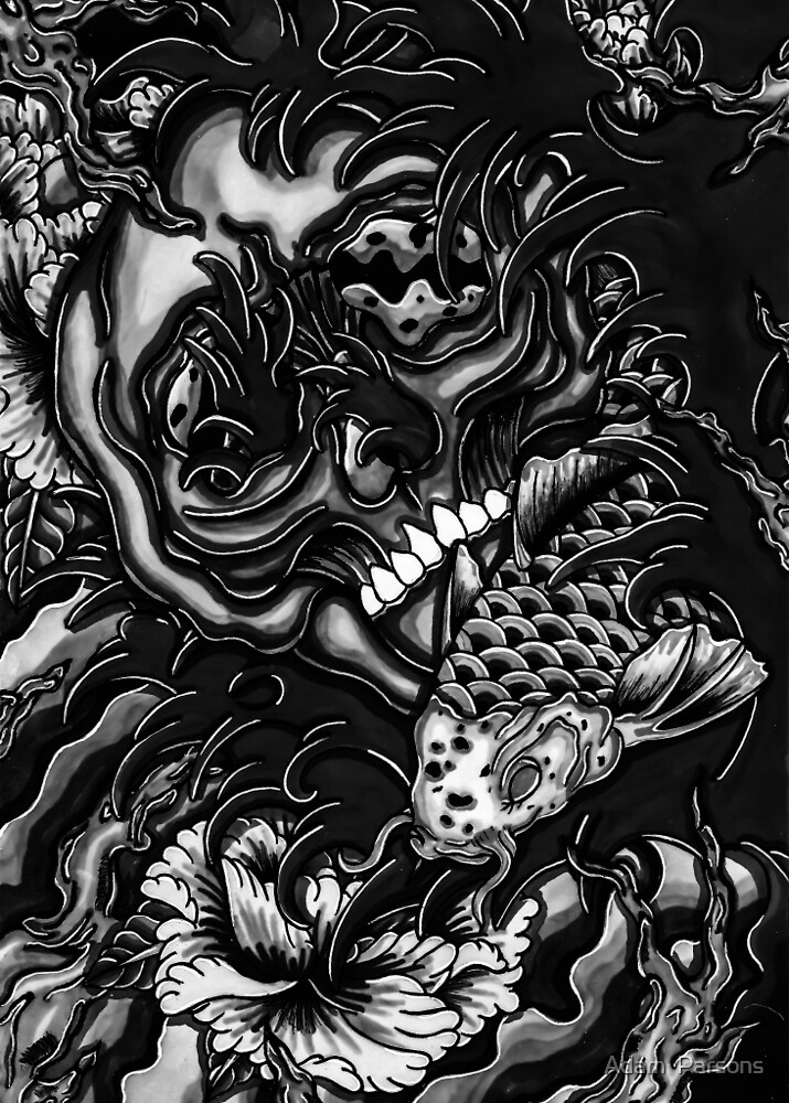 b&w skull and koi by Adam  Parsons