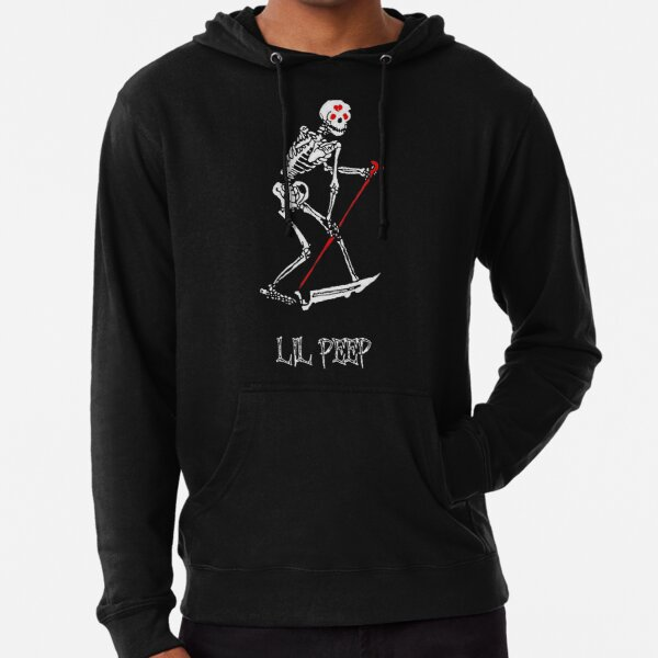 Lil peep Skeleton Grim reaper tattoo and official design Lightweight Hoodie