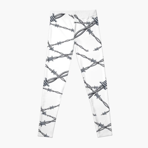 Realistic 3d detailed #barbed #wire line background Leggings
