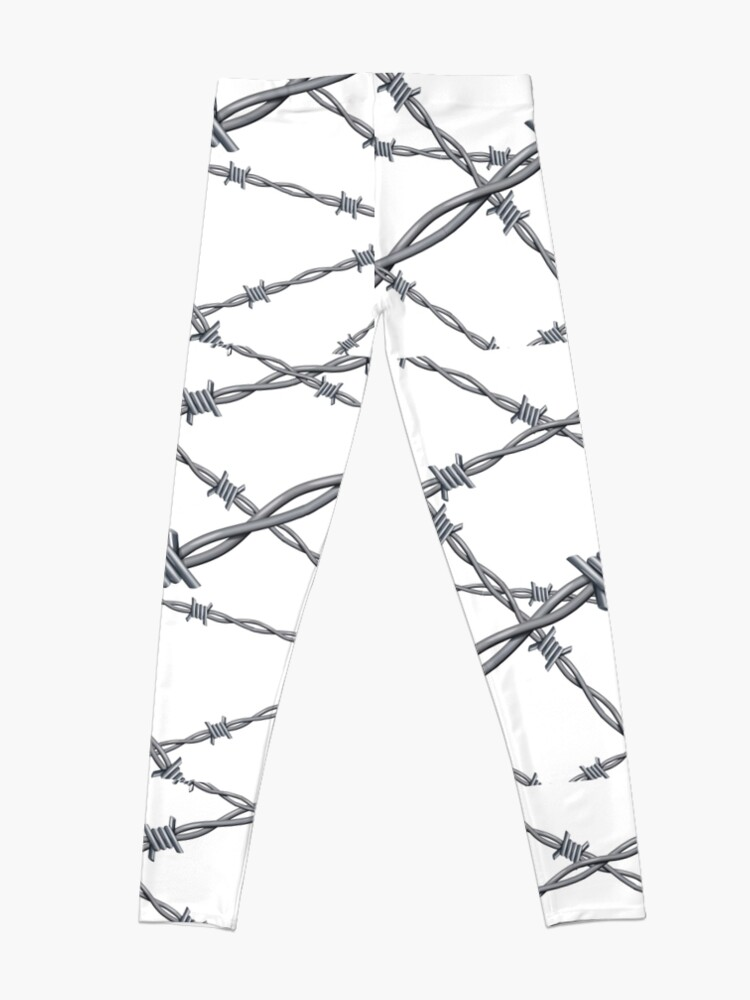 Alternate view of Realistic 3d detailed #barbed #wire line background Leggings