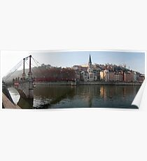 Passerelle St-Georges, and Vieux Lyon panorama Poster