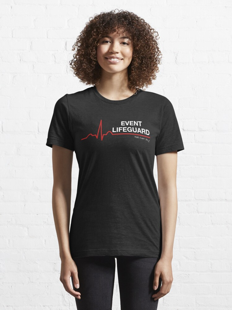 Alternate view of Event Medicine Lifeguard ECG Style (White/Red) Essential T-Shirt