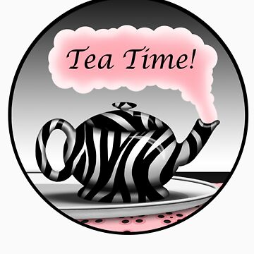 "Zebra Print Teapot Pink Steam ""Tea Time"" Design by Starzraven"