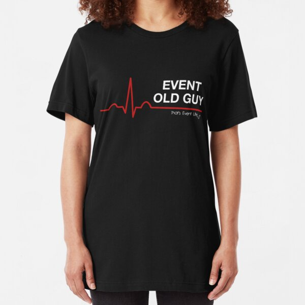 Event Medicine Old Guy ECG Style (White/Red) Slim Fit T-Shirt