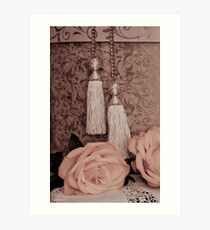 Tassels, Roses, Lace And Hat Box Art Print