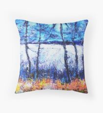 Moon over the Fields Throw Pillow