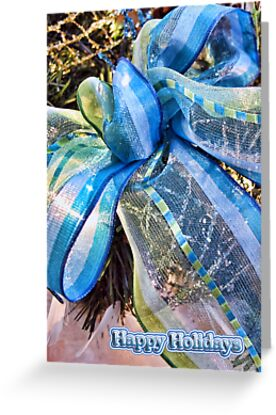 Blue & Gold Christmas Bow w/ Wired Mesh Garland, White Feathers & Xmas Lights ~ Trendy Christmas Holiday Season by Chantal PhotoPix